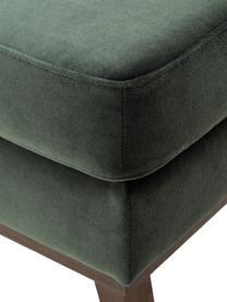 Sofa-Hocker Alva aus Samt in Grün mit Buchenholz-Füßen, Bezug: Samt (Hochwertiger Polyes, Gestell: Massives Kiefernholz, Füße: Massives Buchenholz, gebe, Oliv, 74 x 30 cm