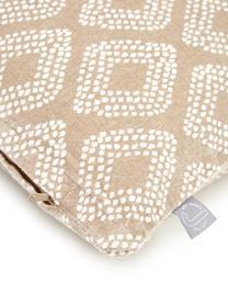 Set 3 federe arredo beige a fantasia Cousin, 100% cotone, Beige, bianco, Larg. 45 x Lung. 45 cm