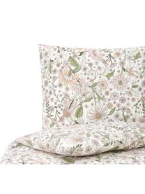 Baumwoll-Bettwäsche Shakira mit Blumen-Print, Webart: Renforcé Fadendichte 144 , Weiß, Mehrfarbig, 135 x 200 cm + 1 Kissen