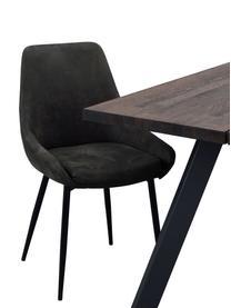 Chaise rembourrée cuir synthétique Sierra, 2pièces, Cuir synthétique gris foncé Pieds: noir