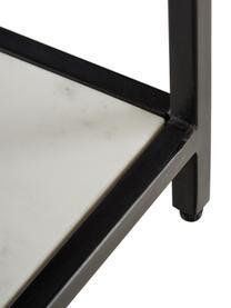 Lowboard Lenny mit Marmor-Ablage, Korpus: Mitteldichte Holzfaserpla, Ablagefläche: Marmor, Gestell: Metall, pulverbeschichtet, Schwarz, Weiß-grauer Marmor, 150 x 55 cm