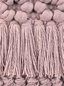 Kissenhülle Monika in Altrosa mit Fransendekor, 100% Baumwolle, Altrosa, 30 x 50 cm
