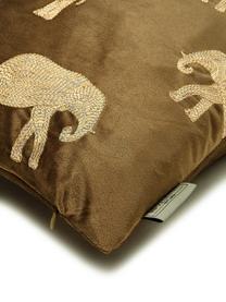 Cuscino in velluto ricamato effetto lucido Elephant, 100% velluto (poliestere), Marrone, dorato, Larg. 45 x Lung. 45 cm