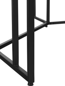 Ovaler Massivholz Esstisch Luca in Schwarz, Tischplatte: Massives Mangoholz, gebür, Gestell: Metall, pulverbeschichtet, Tischplatte: Mangoholz, schwarz lackiertGestell: Schwarz, matt, B 180 x T 100 cm
