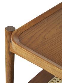 Tavolino da salotto in legno di quercia con intreccio viennese Libby, Ripiano: rattan, Struttura: legno massiccio di querci, Marrone scuro, beige, Larg. 110 x Alt. 35 cm