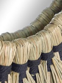 Runder Wandspiegel Akila mit Rahmen aus getrockneten Gräsern, Rahmen: Mendonggras, Spiegelfläche: Spiegelglas, Beige, Schwarz, Ø 40 x T 5 cm