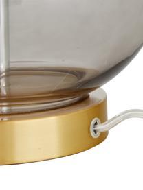 Tafellamp Natty met glazen onderstel, Lampenkap: textiel, Lampvoet: glas, Voetstuk: geborsteld messing, Wit, blauwgrijs, transparant, Ø 31 x H 48 cm