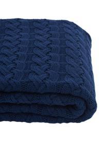 Strick-Plaid Caleb mit Zopfmuster, 100% Baumwolle, Blau, 130 x 170 cm