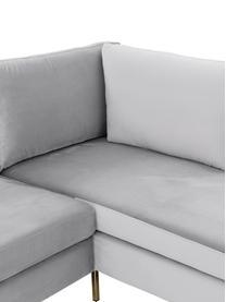 Canapé d'angle velours gris clair Luna, Velours gris clair, or