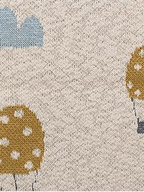 Plaid Baloons, Baumwolle, Öko-Tex-zertifiziert, Beige, Blau, Senfgelb, 80 x 100 cm