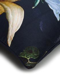 Baumwollsatin-Bettwäsche Fleur mit Blumen-Muster, Webart: Satin Fadendichte 209 TC,, Vorderseite: Nachtblau, Weiß, GelbRückseite: Nachtblau, 135 x 200 cm + 1 Kissen 80 x 80 cm