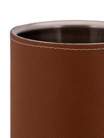 Flaschenkühler Lahore mit braunem Leder, Bezug: Leder, Braun, Stahl, Ø 12 x H 20 cm
