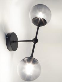 Applique in vetro Beth, Paralume: vetro, Struttura: metallo verniciato a polv, Grigio, nero, Ø 12 x Alt. 45 cm