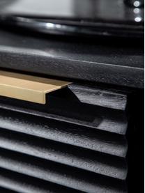 Niska szafka z drewna akacjowego z ryflowanym frontem Mamba, Korpus: drewno akacjowe lakierowa, Nogi: metal lakierowany, Czarny, S 158 x W 50 cm