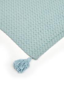 Waffelpiqué-Plaid Gopher in Hellblau mit Quasten, 100% Baumwolle, Aqua, 125 x 150 cm