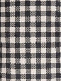 Karierte Kissenhülle Cabane, 85% Baumwolle, 15% Leinen, Beige, Schwarz, 30 x 50 cm