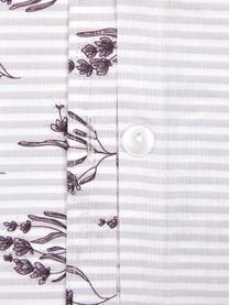 Baumwoll-Bettwäsche Yane mit Blümchen/gestreift, Webart: Renforcé Fadendichte 144 , Lila, Weiß, 240 x 220 cm + 2 Kissen 80 x 80 cm
