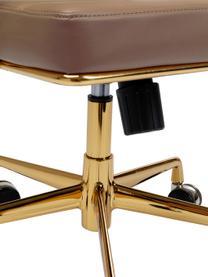Krzesło biurowe ze sztucznej skóry Dottore, obrotowe, Tapicerka: sztuczna skóra (poliureta, Stelaż: aluminium polerowane, Brązowy, odcienie złotego, S 44 x G 50 cm