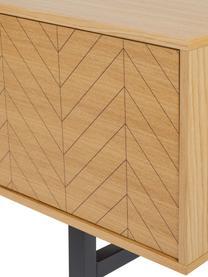 Szafka RTV z fornirem z drewna dębowego Camden, Korpus: płyta pilśniowa (MDF) z f, Nogi: drewno brzozowe, lakierow, Drewno dębowe, S 150 x W 50 cm
