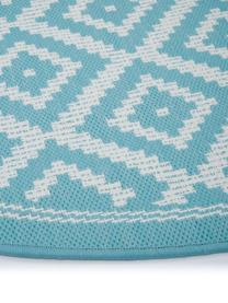 Tappeto rotondo fantasia color turchese/bianco da interno-esterno Miami, 86% polipropilene, 14% poliestere, Bianco, turchese, Ø 200 cm (taglia L)