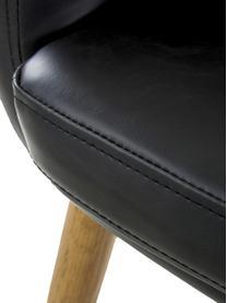 Kunstleder-Armlehnstuhl Nora mit Holzbeine, Bezug: Kunstleder (Polyurethan), Beine: Eichenholz, Kunstleder Schwarz, Beine Eiche, B 56 x T 55 cm