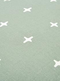 Dubbelzijdig renforcé dekbedovertrek Odd Twins, Weeftechniek: renforcé, Jadegroen, wit, 140 x 200 cm