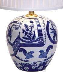 Lampa stołowa z ceramiki Göteborg, Podstawa lampy: niebieski, biały Klosz: biały, Ø 31 x W 48 cm