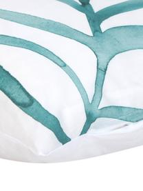 Dwustronna poszewka na poduszkę z perkalu Francine, 2 szt., Przód: zielony, biały Tył: biały, 40 x 80 cm
