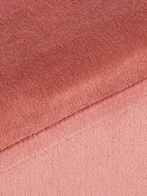 Breiter Samt-Hocker Harper, Bezug: Baumwollsamt, Fuß: Metall, pulverbeschichtet, Koralle, Goldfarben, 64 x 44 cm