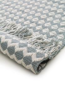 Dywan wewnętrzny/zewnętrzny Morty, 100% poliester (recyceltes PET), Niebieski, złamana biel, S 80 x D 150 cm (Rozmiar XS)