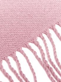 Plaid rosa con finitura a frange Madison, 100% cotone, Rosa, Larg. 140 x Lung. 170 cm