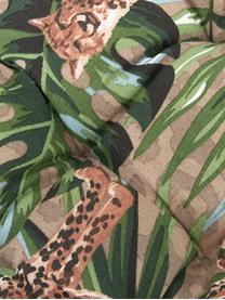 Coussin de chaise imprimé tropical Lenny, Taupe, vert, brun, noir