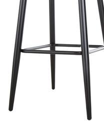 Grijze fluwelen barstoel Amy, Bekleding: fluweel (polyester) De be, Poten: gepoedercoat metaal, Fluweel grijs, 45 x 103 cm
