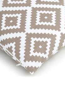 Kissenhülle Miami in Taupe/Weiß, 100% Baumwolle, Beige, 45 x 45 cm