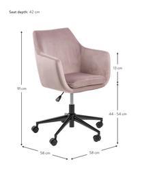 Fluwelen bureaustoel Nora, in hoogte verstelbaar, Bekleding: polyester (fluweel), Frame: gepoedercoat metaal, Fluweel roze, B 58 x D 58 cm