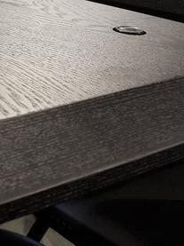 Stół rozkładany do jadalni Fenwood, Blat: Płyta pilśniowa średniej , Nogi: lite drewno dębowe, tłocz, Czarny, odcienie mosiądzu, S 180 - 260 x G 90 cm