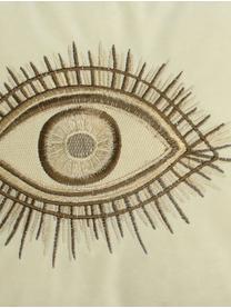 Fluwelen kussen Eyes met borduurwerk, met vulling, 100% fluweel, Ivoorkleurig, bruin, 30 x 50 cm