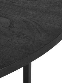 Table ronde bois massif Luca, Plateau: bois de manguier, laqué noir Structure: noir, mat