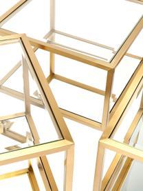 Table basse avec fond en verre miroir Luigi, 4élém., Couleur dorée, noir