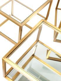 Couchtisch 4er-Set Luigi mit Spiegel-Böden, Gestell: Edelstahl, lackiert, Böden: Spiegelglas, Füße: Mitteldichte Faserplatte,, Goldfarben, Schwarz, Sondergrößen