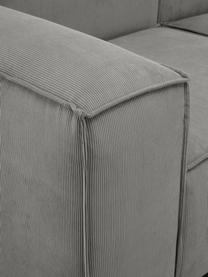 Chaise-longue componibile in velluto a coste grigio Lennon, Rivestimento: velluto a coste (92% poli, Struttura: legno di pino massiccio, , Piedini: plastica I piedini si tro, Velluto a coste grigio, Larg. 357 x Prof. 119 cm