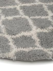 Hochflor-Teppich Mona in Grau/Cremeweiß, Flor: 100% Polypropylen, Grau, Cremeweiß, Ø 150 cm (Größe M)