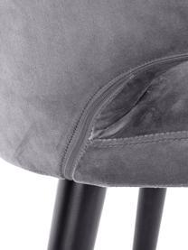 Sedia con braccioli moderna in velluto Celia, Rivestimento: velluto (poliestere) Con , Gambe: metallo verniciato a polv, Velluto grigio acciaio, Larg. 57 x Prof. 62 cm