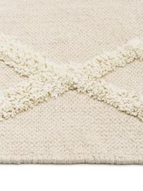 Teppich Canvas mit getufteter Verzierung, 100% Baumwolle, Gebrochenes Weiß, B 200 x L 300 cm (Größe L)