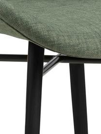 Polsterstühle Batilda in Grün, 2 Stück, Bezug: 100% Polyester, Beine: Gummiholz, beschichtet, Webstoff Grün, Schwarz, B 47 x T 53 cm