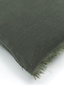 Leinen-Kissenhülle Luana in Dunkelgrün mit Fransen, 100% Leinen, Grün, 30 x 50 cm