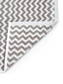 Serviette de toilette coton pur à imprimé zigzag Liv, Taupe, blanc crème