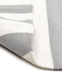 Gestreifter Baumwollteppich Blocker in Grau/Weiß, handgewebt, 100% Baumwolle, Cremeweiß/Hellgrau, B 200 x L 300 cm (Größe L)