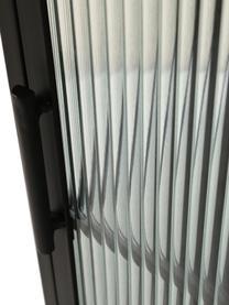 Schmale Vitrine Markus mit Rillenglas und Metallrahmen, schwarz, Gestell: Metall, beschichtet, Schwarz,Transparent, 46 x 132 cm