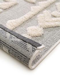 Tapis d'extérieur en laine gris ethnique à surface texturée Kim, Gris, crème